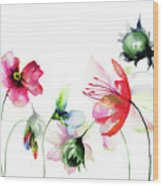 Decorative Wild Flowers Wood Print