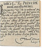 Dedication To Don Lorenzo De' Medici Wood Print