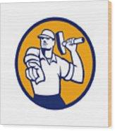 Demolition Worker Hammer Pointing Circle Retro Wood Print