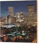 Denver Evening Skyline Wood Print