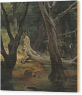 Departure For The Hunt In The Pontine Marshes Wood Print