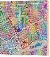 Detroit Michigan City Map Wood Print