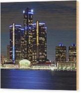 Detroit Skyline Panorama Wood Print