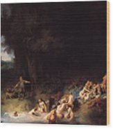 Diana Bathing With Her Nymphs Wood Print
