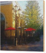 Dining At The Village Wood Print