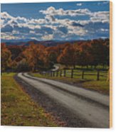 Dirt Road Through Vermont Fall Foliage Wood Print