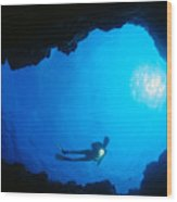 Diver At Cavern Entrance Wood Print