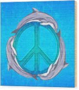 Dolphin Peace Wood Print