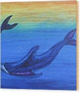 Dolphins At Play Wood Print