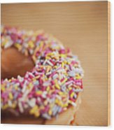 Donut And Sprinkles Wood Print