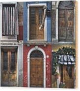 doors and windows of Burano - Venice Wood Print by Joana Kruse