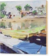Dories At Beacon Marine Basin Wood Print