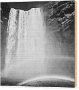 Double Rainbow At Skogafoss Waterfall In Iceland Wood Print