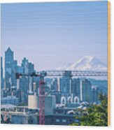 Downtown Cityscape View Of Seattle Washington Wood Print
