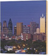 Downtown Dallas Skyline At Dusk Wood Print