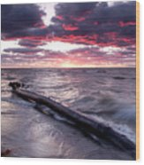 Drama Over Lake Erie Wood Print