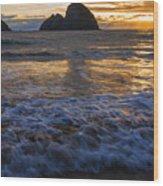 Dramatic Sunset Oregon Coast Usa Wood Print