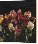 Dried Roses Wood Print