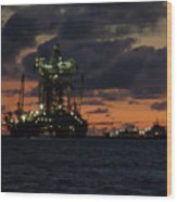 Drill Rig At Dusk Wood Print