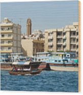 Dubai Creek And Abra Boats Wood Print