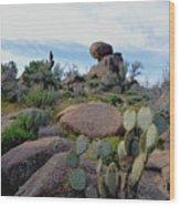 Dusk In The Desert Wood Print