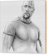 Dwayne Johnson Wood Print