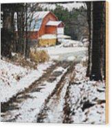 Early Winter Barn Wood Print