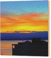 Edgewater Sunset Wood Print