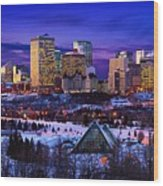 Edmonton Winter Skyline Wood Print by Corey Hochachka