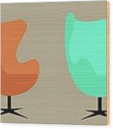 Egg Chairs Wood Print