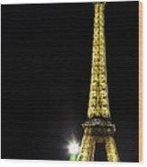 Eiffel At Night Wood Print