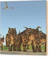 Einiosaurus Dinosaurs Wood Print