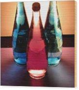 Electric Light Through Bottles Wood Print