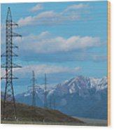Electric Power Transmission Pylons On Inner Mongolia Grassland At Sunrise  Wood Print