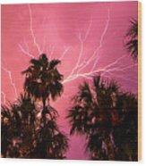Electrified Palms Wood Print