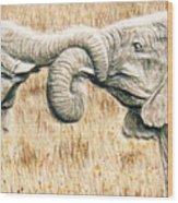 Elefriends Wood Print by Dy Witt