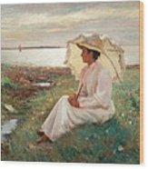 Elegant Lady By The Sea Wood Print