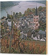 Elevated View Of Bacharach Wood Print