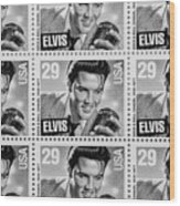 Elvis Commemorative Stamp January 8th 1993 Painted Bw Wood Print