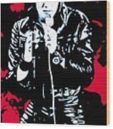 Elvis Wood Print by Luis Ludzska