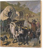 Emigrants To West, 19th C Wood Print