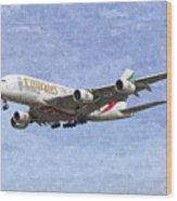 Emirates A380 Airbus Oil Wood Print