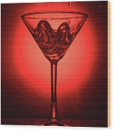 Empty Cocktail Glass On Red Background Wood Print
