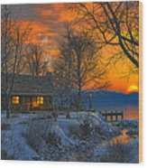 End Of Day  Beginning Of Winter Wood Print