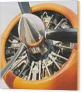 Engine And Propellers Of Aircraft Close Up Wood Print
