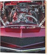 Engine Compartment Of Chromed Camaro Wood Print