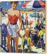 England Weston Super Mare Vintage Travel Poster Wood Print