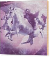 Epic Space Sloth Riding On Unicorn Wood Print