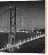 Evening Cityscape Of Golden Gate Bridge - Monochrome Wood Print