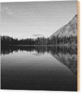 Evening Reflection Bw Wood Print